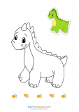 Match Up Coloring Pages – Friendly Dinosaur