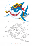 Coloring Match – Pirate Shark