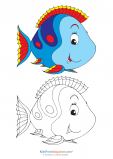 Fill in the Color – Blue Fish Printable Coloring Page