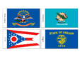 US State Flags Flash Cards ND, OK, OH, OR