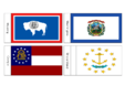 US State Flags Flash Cards WY, WV, GA, RI