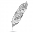 Black and White Feather Doodle 2