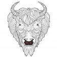 Bison Head Doodle Coloring Page