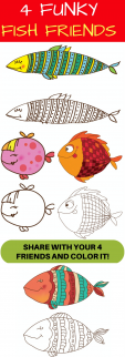 4 Funky Fish Friends- Coloring Friendship Printable Page Invite