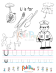 Alphabet Tracing Worksheet – U