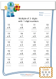 2 Digit Multiplied by 1 Digit Worksheet - #4