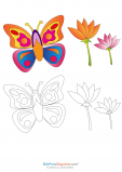 Butterfly Coloring Page With Colored Reference
