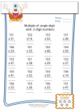 Multiplication Worksheet – 3 digit by 2 digit - #1