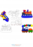 Boats, Trains, and Planes  Coloring Page