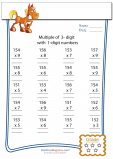 Multiplication Worksheet – 3 digit by 1 digit - #4