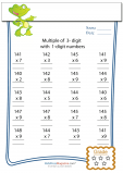 Multiplication Worksheet – 3 digit by 1 digit - #3