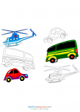 Helicopters, Buses, and Cars Coloring Page