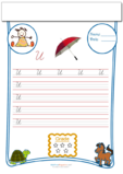 Cursive Writing Worksheet Letter U