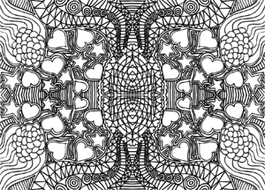 doodle coloring page intricate hears stars