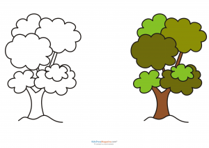 match up coloring pages tree flowers plants trees