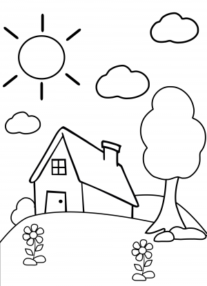 Preschool Coloring Page House KidsPressMagazine