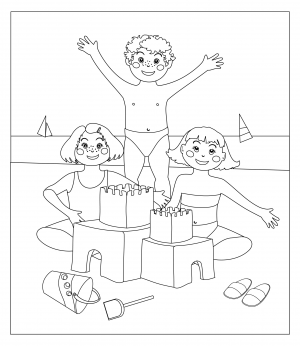 Outdoor time coloring page for Summer activities coloring pages