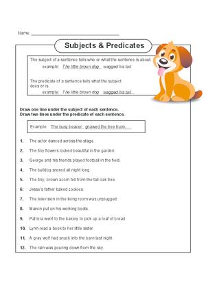 Subject and Predicate Activity - KidsPressMagazine.com