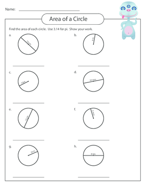 Area of a Circle Worksheet 3 - KidsPressMagazine.com