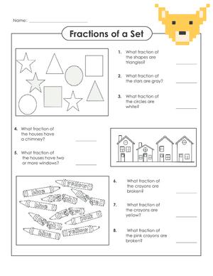 Fractions of a set worksheets super teacher