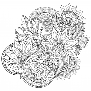 advanced adult coloring pages | Flowers Advanced Coloring Pages 19 - KidsPressMagazine.com