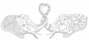 Elephants In Love Coloring Page