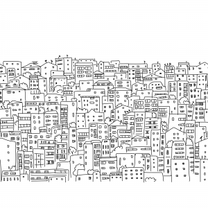 Abstract Cityscape Coloring Page