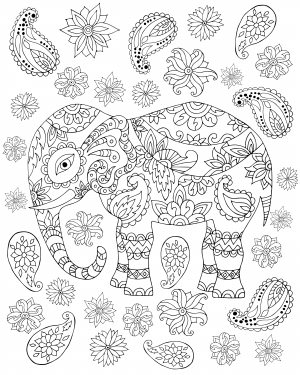 Flamingo free adult coloring page Elephant coloring book for adults