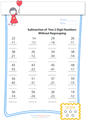Subtraction of 2 Digit Numbers Without Regrouping Archives ...