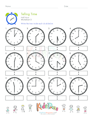 Worksheets Telling Time To The Hour And Half Hour Worksheets time worksheets telling on the hour free archives page 4 of