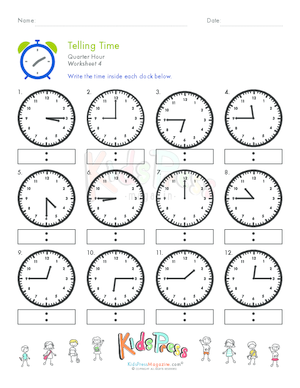 Learning to Tell Time: Quarter Hour | Worksheet | Education.com