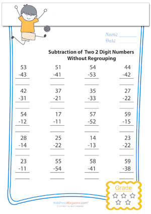 Number Names Worksheets 5 digit subtraction with regrouping worksheets : Subtraction of 2 Digit Numbers Without Regrouping Archives ...