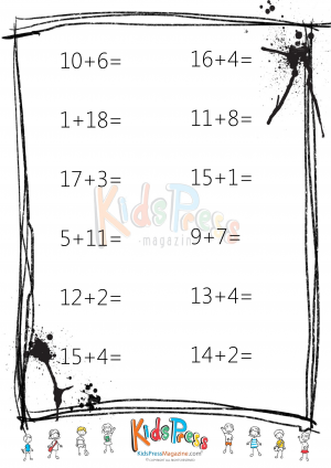 Sums to 20 Worksheet - #4 - KidsPressMagazine.com