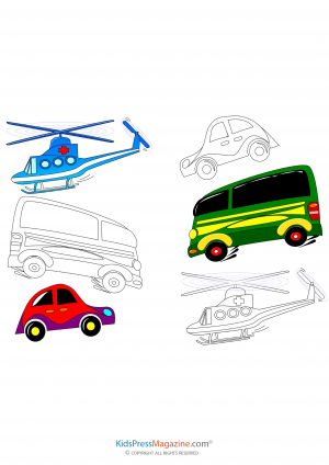 Helicopters Buses And Cars Coloring Page