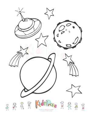 Trippy Space - Alien Flying Saucer and Planets coloring page ... | 388x300