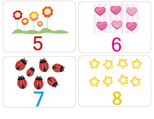 picture about Printable Number Flash Cards called Counting Figures Flashcards 5 8 -