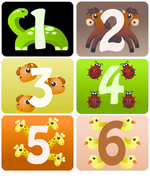 Counting with Animals Flashcards 1 – 6 - KidsPressMagazine.com