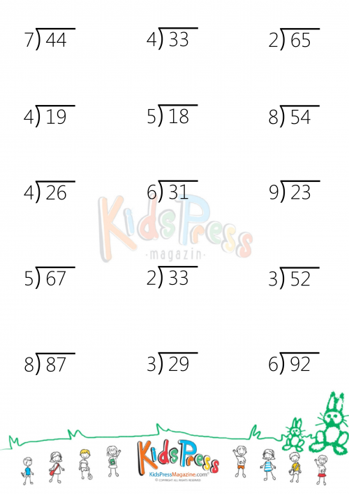 Two Digit Division Without Remainders Worksheets 2 digit by 1 – Math Worksheets Division with Remainders