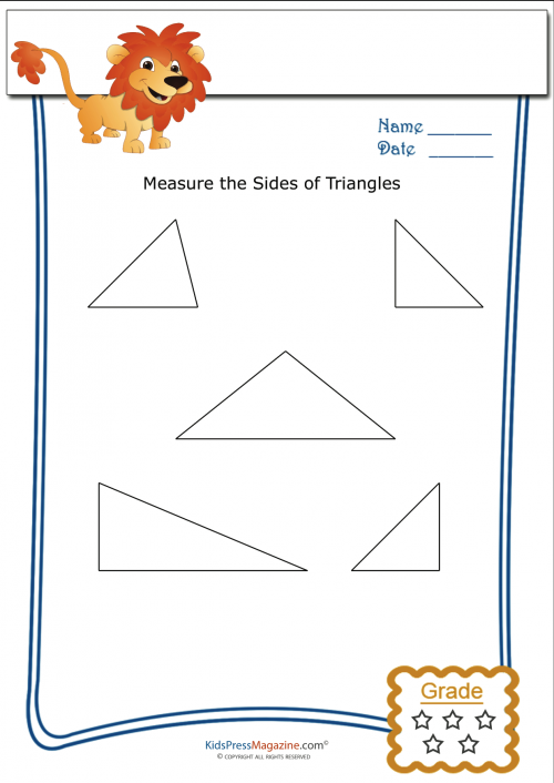 Basic Geometry Worksheet Triangle Measurement 2. This Measuring Triangles Worksheet Is The Best Resource For Your First And Second Grade Students Who Are Just Learning To Measure Geometric Shapes. Worksheet. Measuring Triangles Worksheets At Clickcart.co