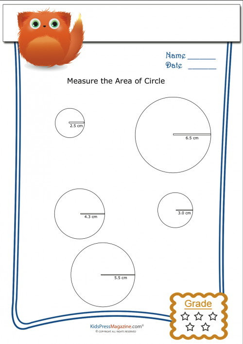measuring area worksheet circles 3. Black Bedroom Furniture Sets. Home Design Ideas