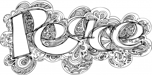 Doodle coloring page peace for Therapeutic coloring pages for children