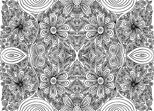 doodle coloring page intricate flowers 1