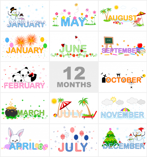 Number Names Worksheets months of the year activities for kindergarten : Months of the Year Printable Visual Aid - KidsPressMagazine.com