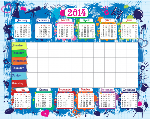 Weekly School Schedule Timetable with 2014 Calendar