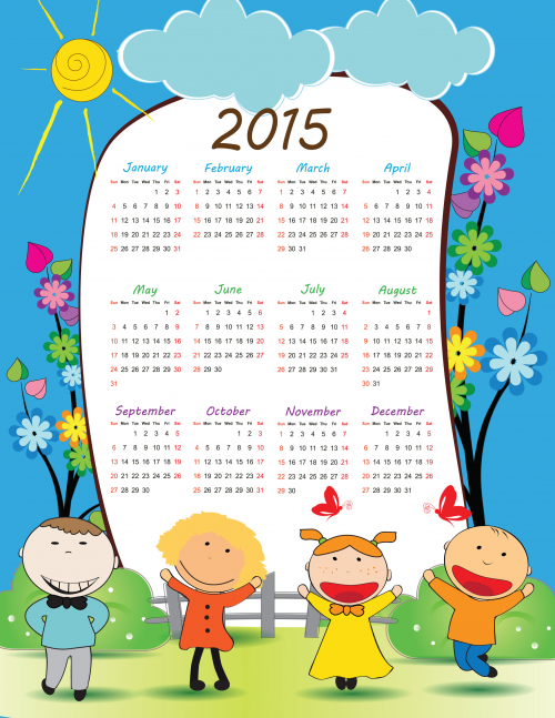 2015 Calendar Printable One Page One page calendar 2015 png