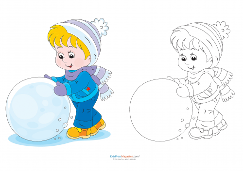 match up coloring pages rolling a snowball