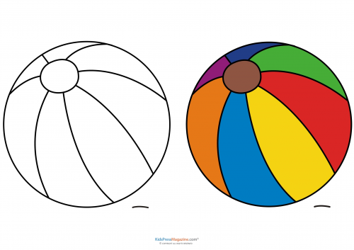 Match Up Coloring Pages Beach Ball KidsPressMagazinecom