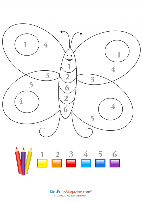 Color by number butterfly 2 for Butterfly coloring pages for kindergarten