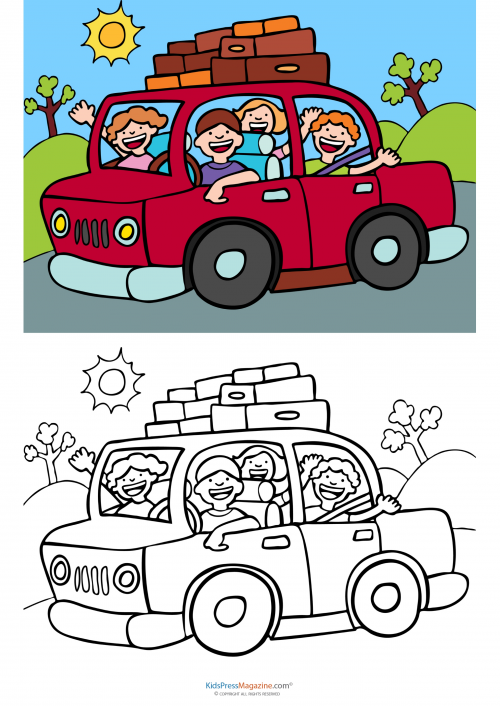 Match Up Coloring Pages Road Trip KidsPressMagazinecom