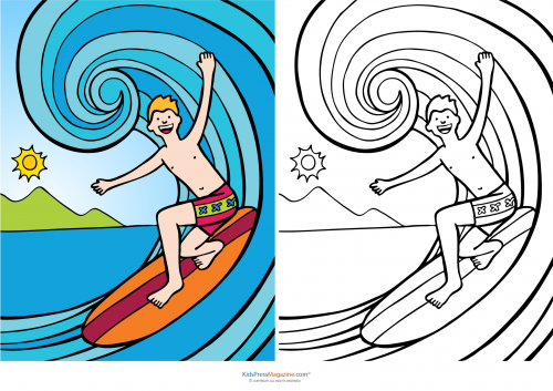 coloring pages surfing - match up coloring pages surfing